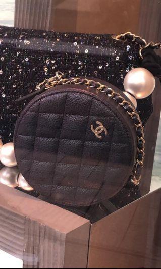 BNIB Chanel 19S Irisdecent Black Round Clutch