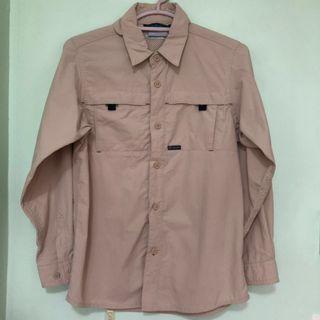 👔COLUMBIA👔 Authentic Boys' Long Sleeve Khaki Brown Omni Shade Sun Protection Shirt/ Top (Size: S)