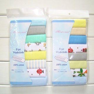 BN 8Pc Baby Infant Newborn Towel Washcloth Bathing Feeding Wipe Bibs