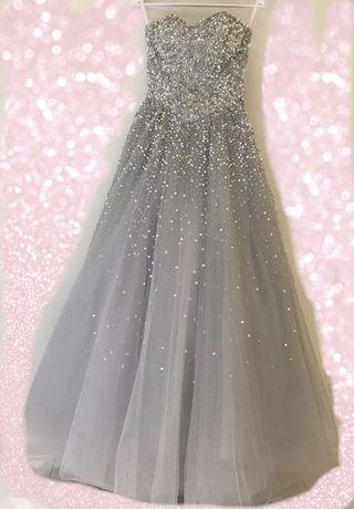婚紗禮服 晚裝 銀色晚裝 敬酒裙 wedding gown