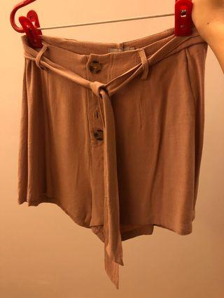 Temt blush pink shorts with tortoise shell buttons