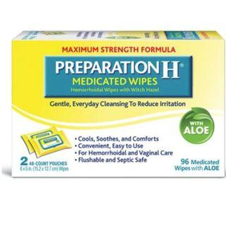 Preparation H Hemorrhoid Medicated Wipes, Maximum Strength Relief with Witch Hazel and Aloe, Pouch (2 x 48 Count, 96 Count)