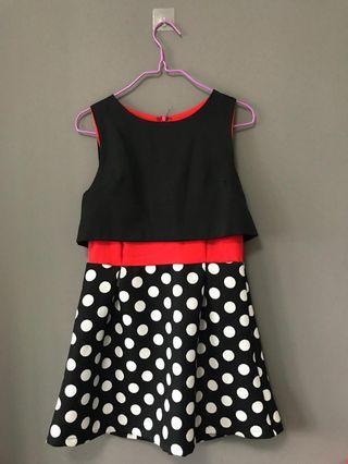 Red Sleeveless Poka Dot Dress