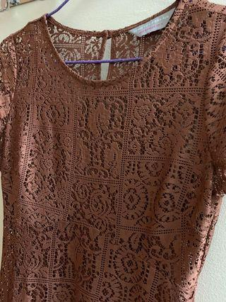 Dorothy Perkins Brown Lace Dress with insert