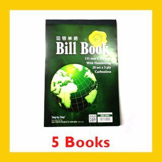 [5 BOOKS] Carbonless Bill Book with Numbering 20 sets x 3ply – SBS0004 (131MM x 192MM)