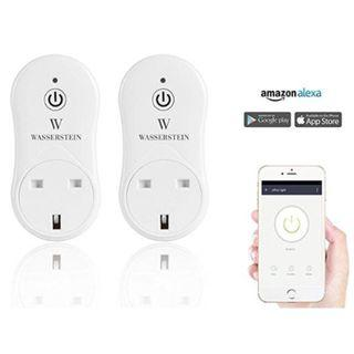 Smart Home Smart Plug by Wasserstein App. Works with Alexa for Your Smart Home, Wi-fi (Pack of 2 ), White, New