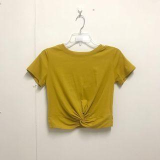 全新 芥末黃紐結上衣