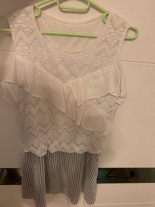 白色上衣直間連身裙