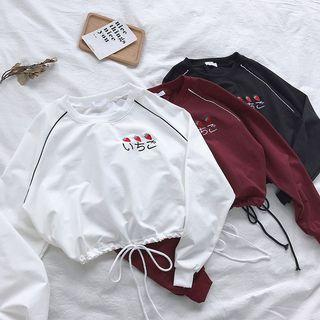 #185 (3 COLOURS) ulzzang maroon/black/white cropped sweater hoodie pullover japanese words strawberry