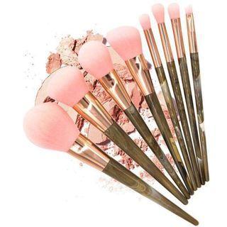 🦄BS0322 8Pcs Marble Stripe Resin Handle Makeup Brushes Set🦄