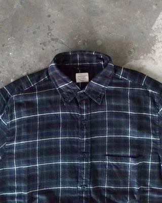 Flannel Back Number hijau hitam