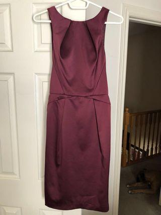 Topshop Origami Satin Shift Burgundy dress
