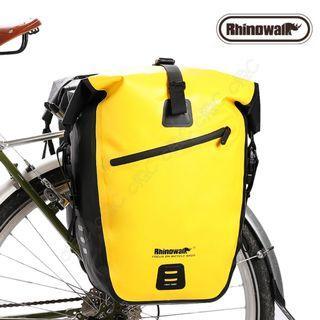 🚚 Rhinowalk-全新自行車超音波融合全防水馱包:27L單車環島旅行袋 腳踏車貨架袋 高頻焊接貨架包 鐵馬鞍袋 行李袋