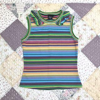 Vintage ::: IROO古著彩色條紋荷葉造型領彈性背心