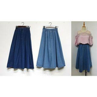 牛仔傘裙 長裙 淺藍