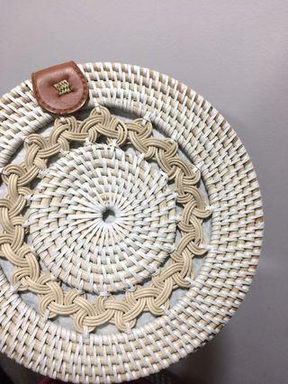 Rattan round handbag
