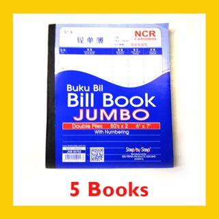 [5 BOOKS] Carbonless JUMBO Bill Book with Numbering 80 sets x 2ply – JNB86702 (6 Inch x 7 Inch)