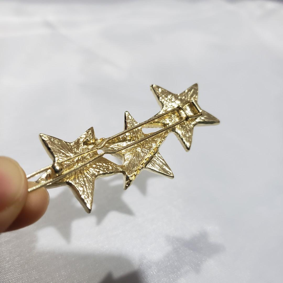 五角星 🌟 三顆星-酒紅亮粉系 髮飾