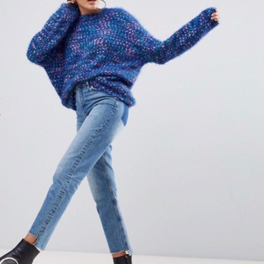 ASOS Monki Multi Knit Oversized Jumper blue chunky knitted sweater overall sizeS