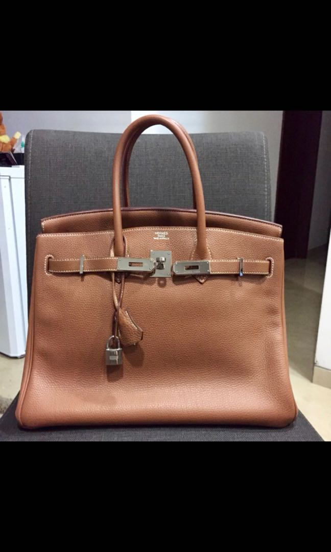 d1e9064d29 Authentic Hermes Birkin 35 Togo Gold with Silver Hardware, Luxury ...