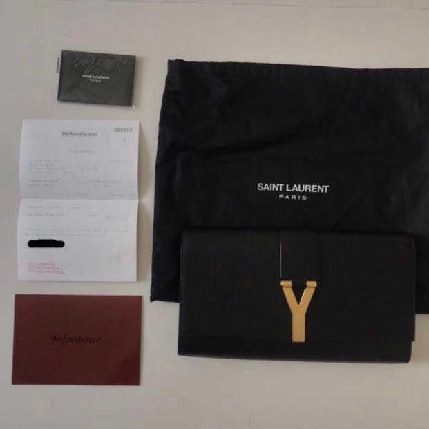 f5795213881 Authentic Yves Saint Laurent ysl textured black y chyc clutch bag ...