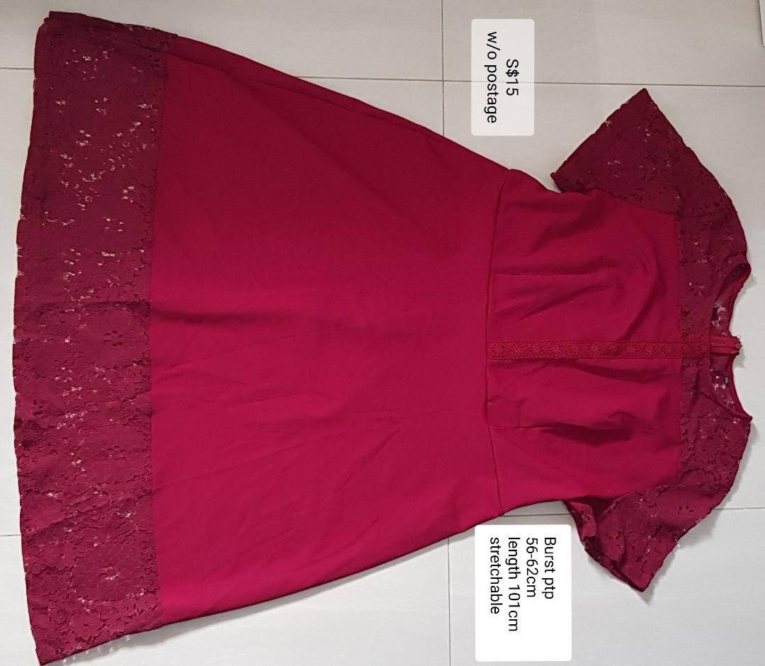 BN plus size red lace dress