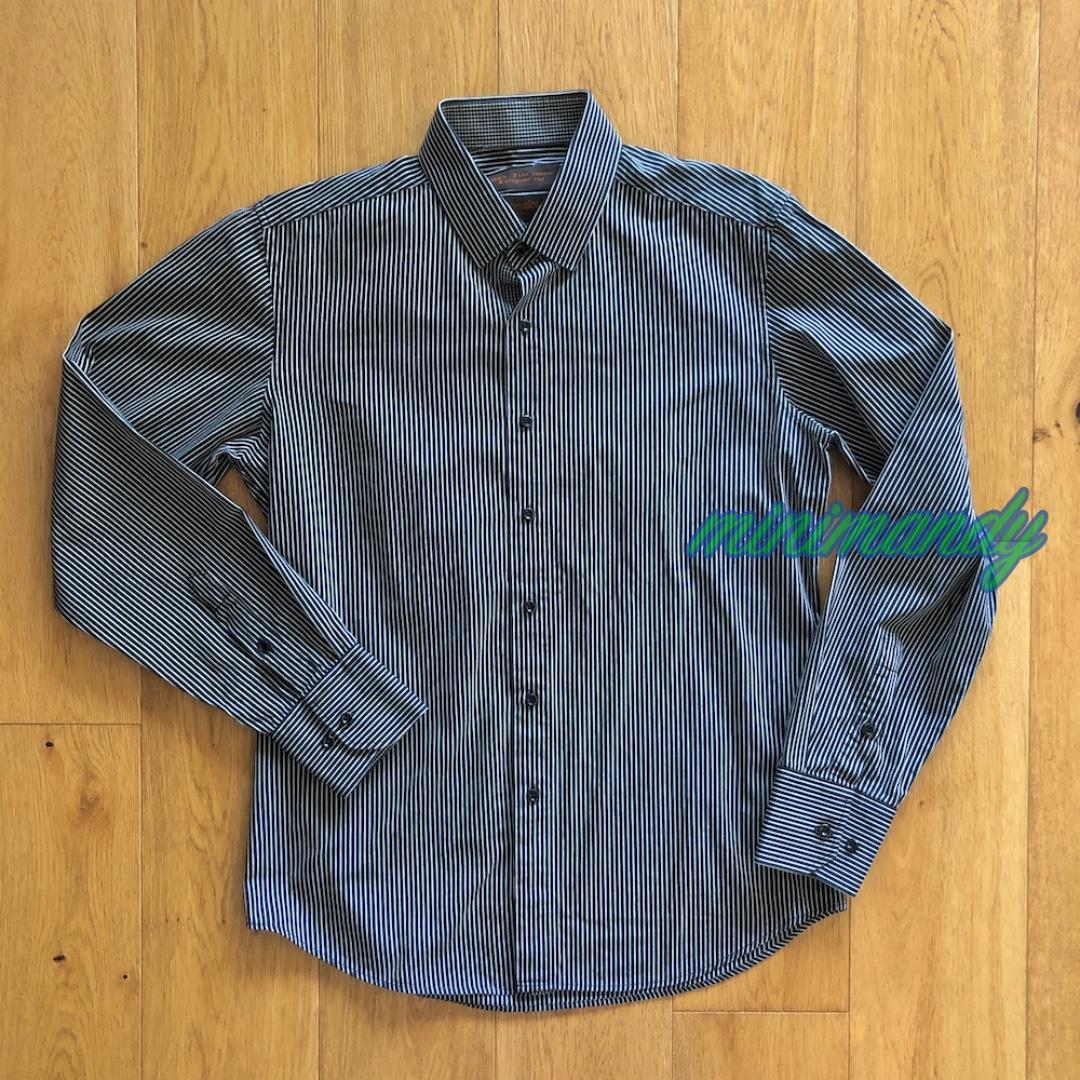 Bossini London MEN black striped dress shirt stripes size M