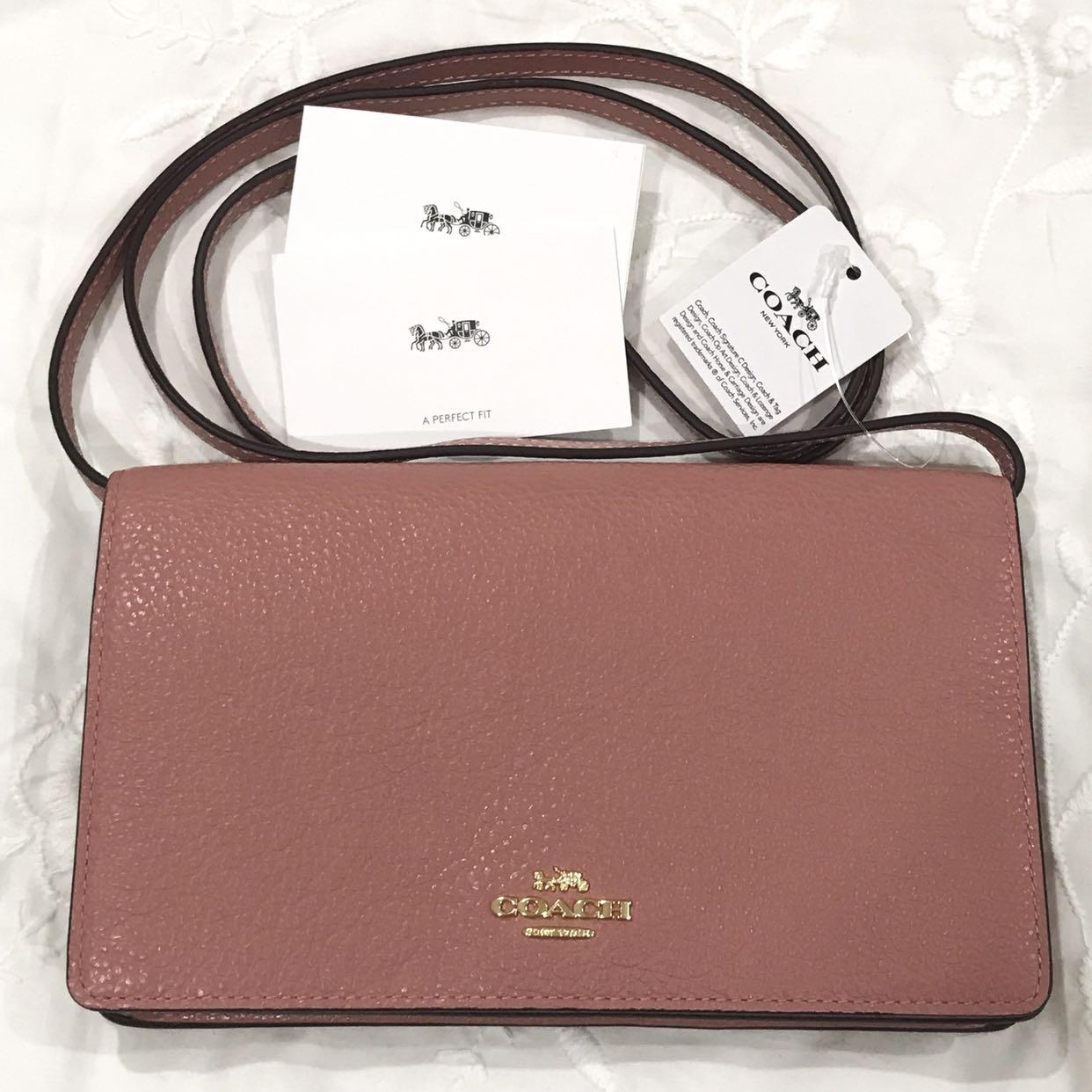 Brand NEW (Tags and cards attached) COACH foldover crossbody clutch in pebbled leather (Vintage Pink)