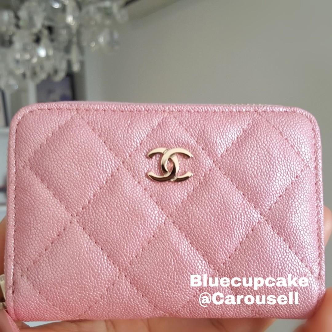 8478c2b74137d0 19S Chanel Pink Iridescent Zipped Card Holder, Women's Fashion, Bags ...