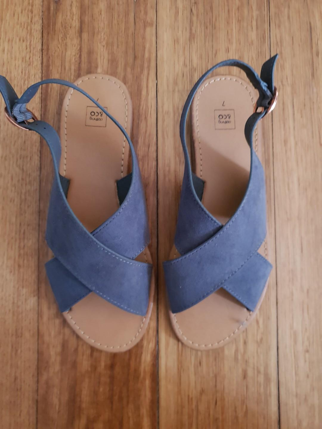 Clothing and co cross front sling back sandals slate