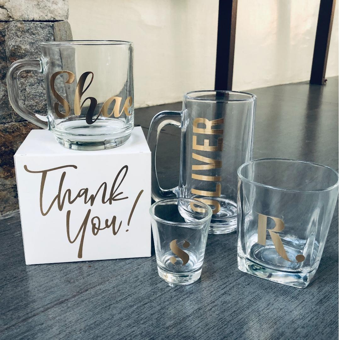 Customized Clear Mugs And Glasses With Brushed Gold Decal Design Craft Others On Carousell