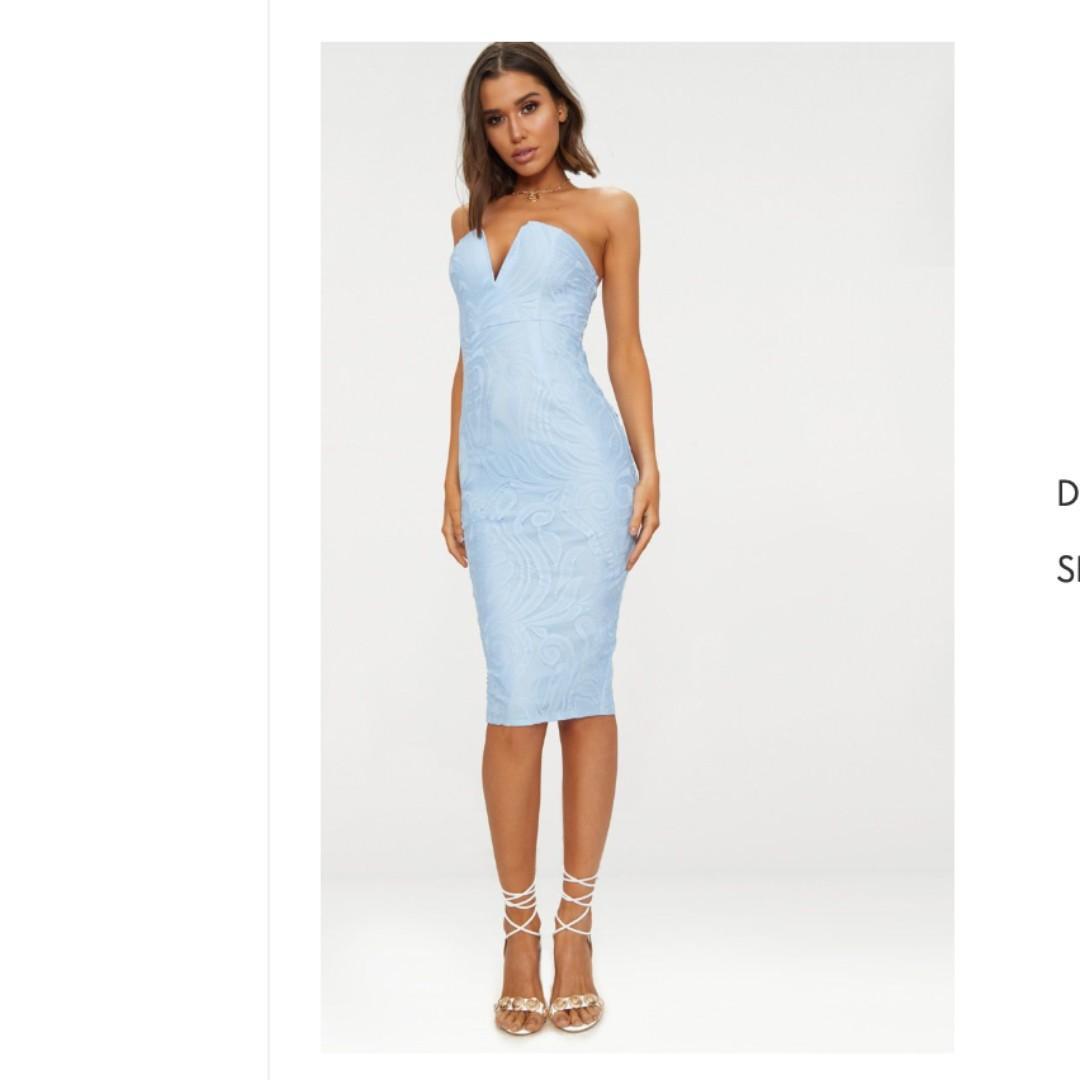 Dusty Blue Bandeau Midi Dress - Pretty Little Thing