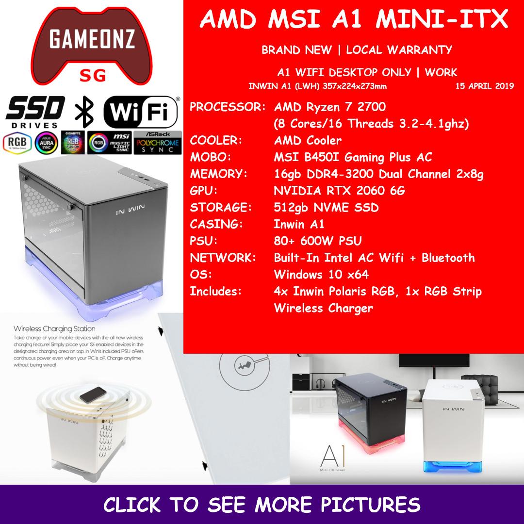 FREE DELIVERY MSI A1 ITX GAMING PC AMD RYZEN 7 2700 16gb DDR4-3200 Ram  512gb NVME SSD RTX 2060 6gb NVIDIA RTX2060 WIFI AMDMSIA1
