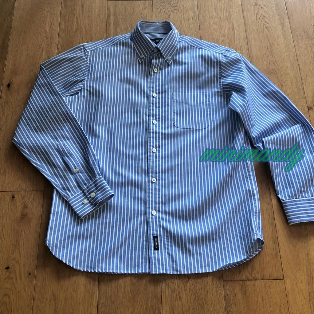 GAZMAN MEN blue striped LS dress shirt cotton size S