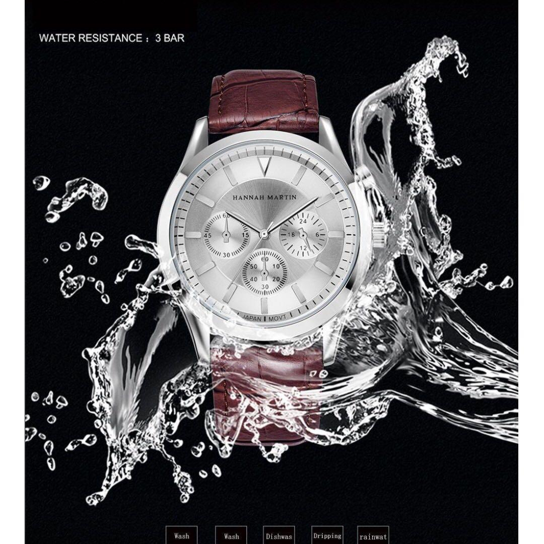 HANNAH MARTIN Original New Men's Tonton Business Casual Sports Belt Watch Fashion Three Eyes Small Dial Waterproof Men's Watch