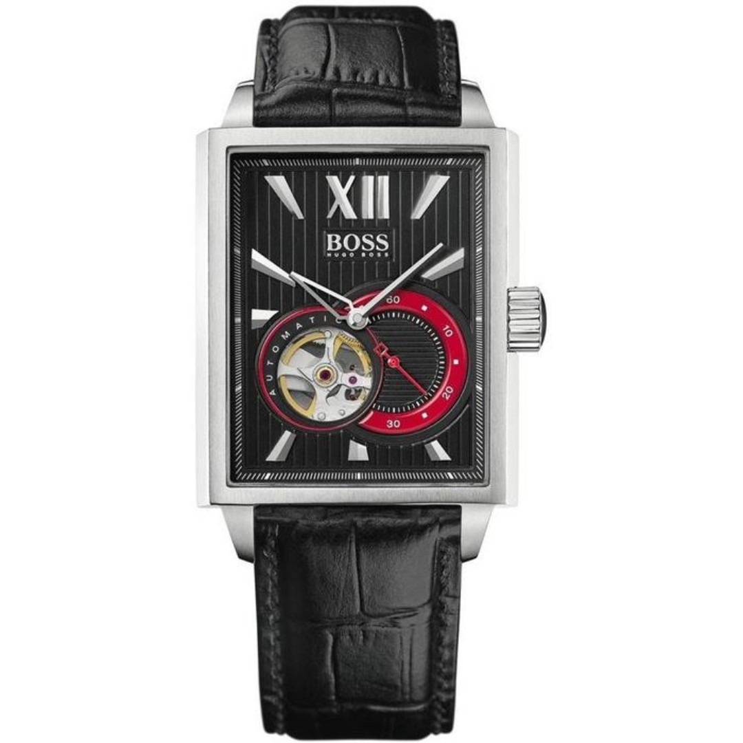 0546feb4b Hugo Boss Men's Black Automatic Black Leather Watch, Luxury, Watches ...
