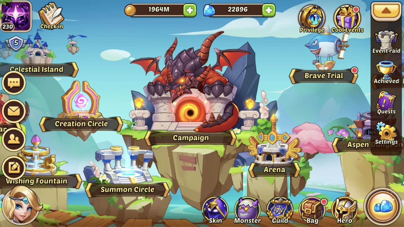 Idle Heroes Account IOS VIP 5 (500 more vip points to VIP 6)