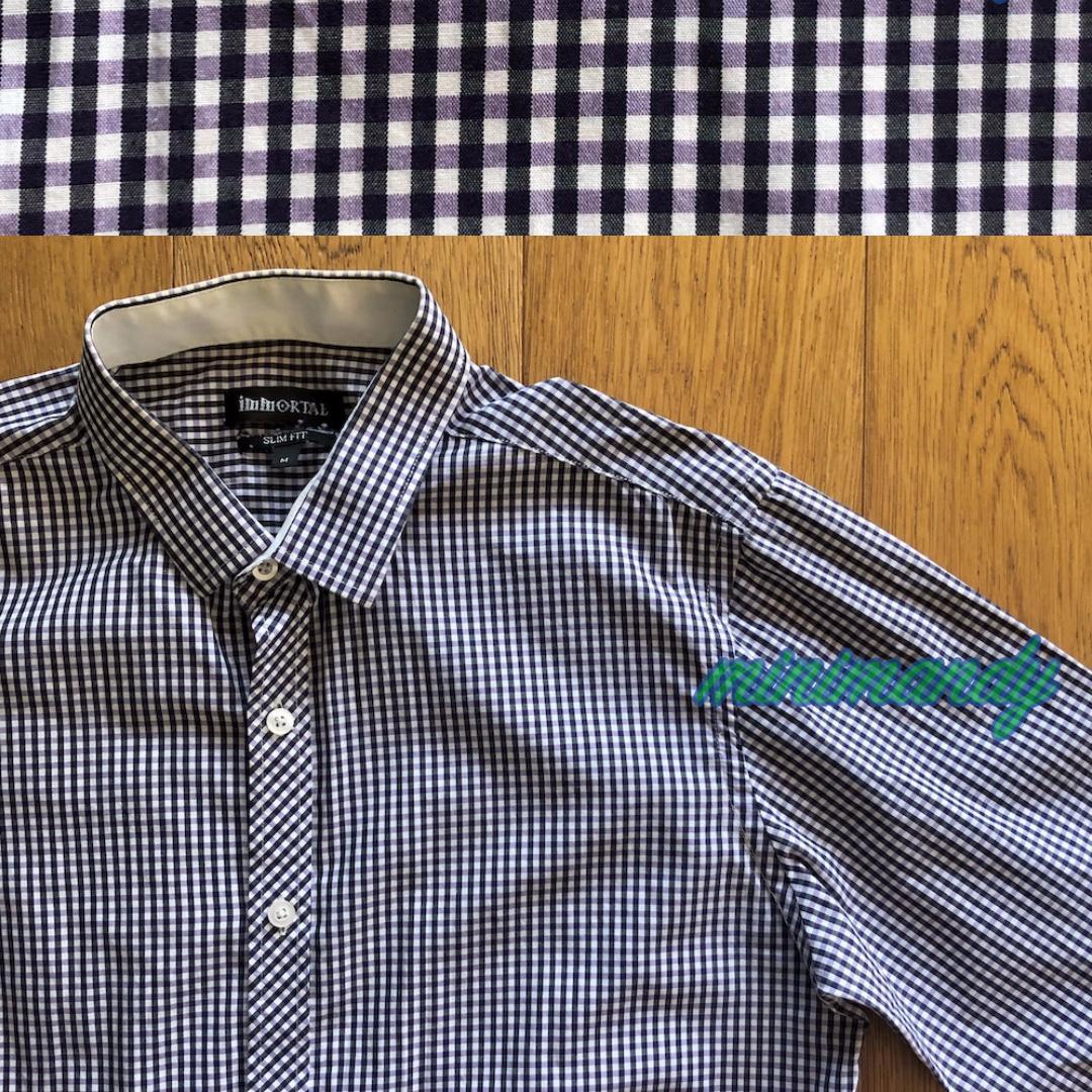 IMMORTAL MEN black purple checked dress shirt plaid slim fit