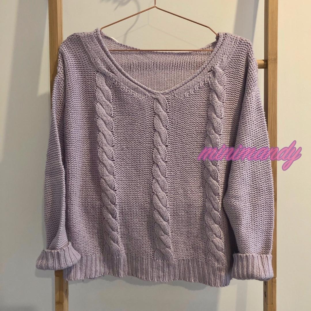 Japan GU lilac pastel purple jumper cable knit sweater knitted pullover UNIQLO
