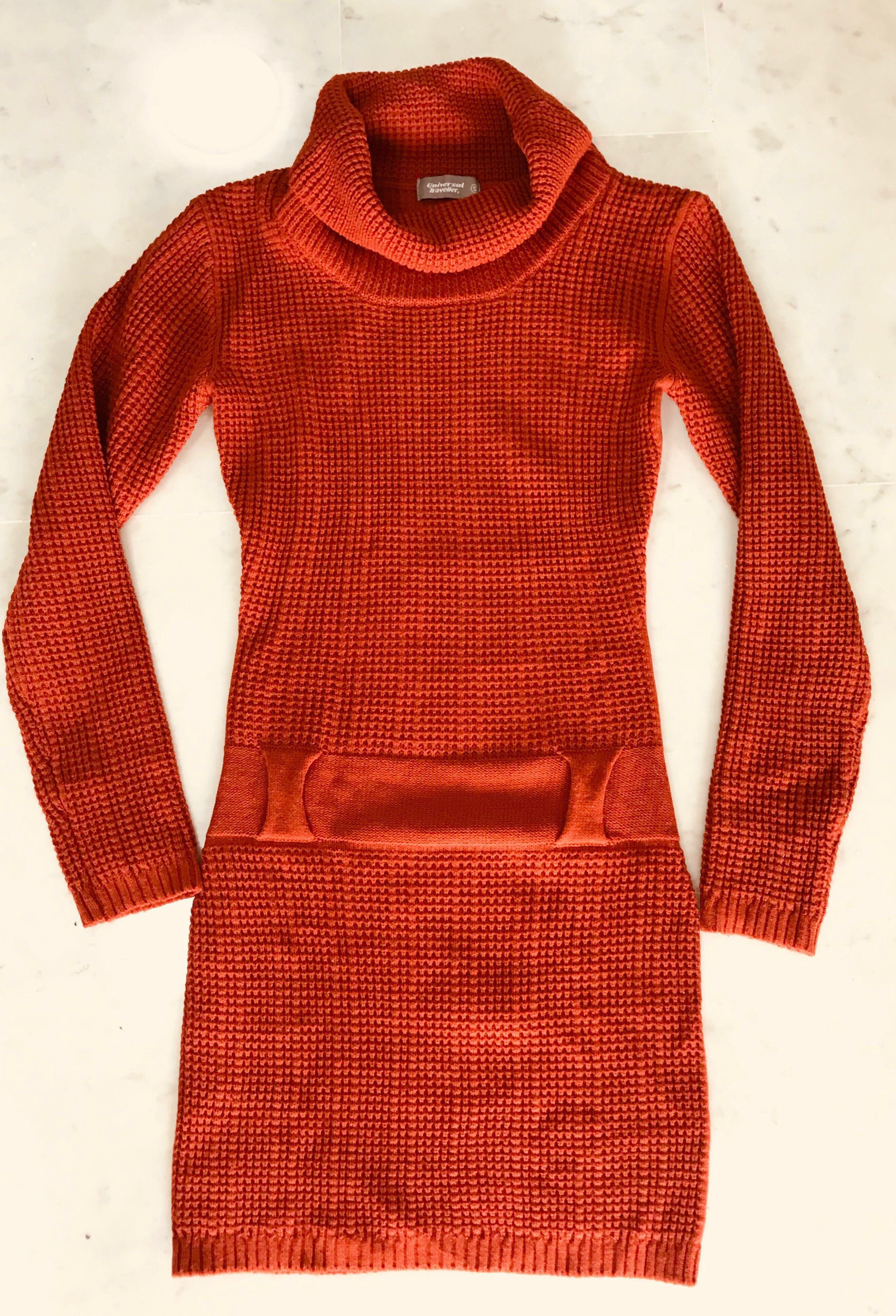Knitted Fitted Turtle Neck Dress