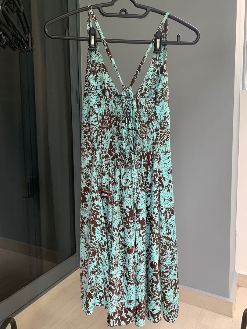 Light turquoise and brown floral flowy dress