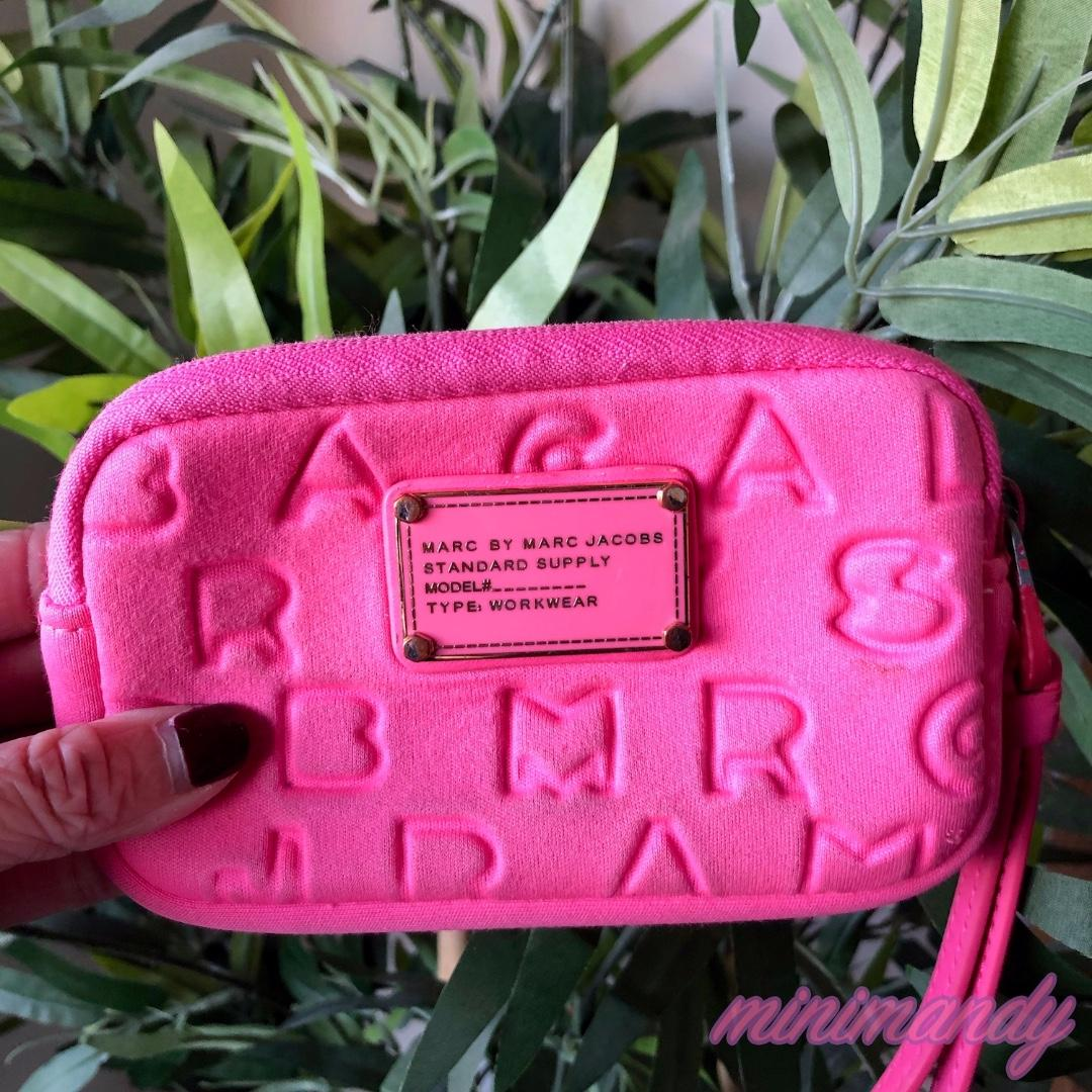 Marc By Marc Jacobs Neoprene Logo Wristlet Wallet Purse Hot Pink authentic