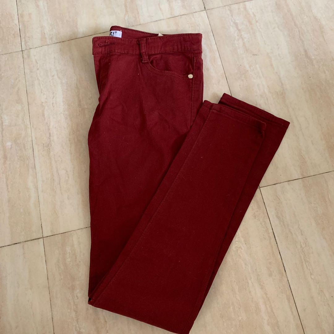 Maroon Skinny Jeans
