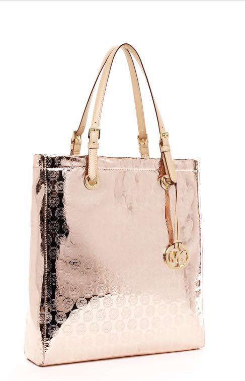 Michael Kors metallic jet set monogram rose gold tote