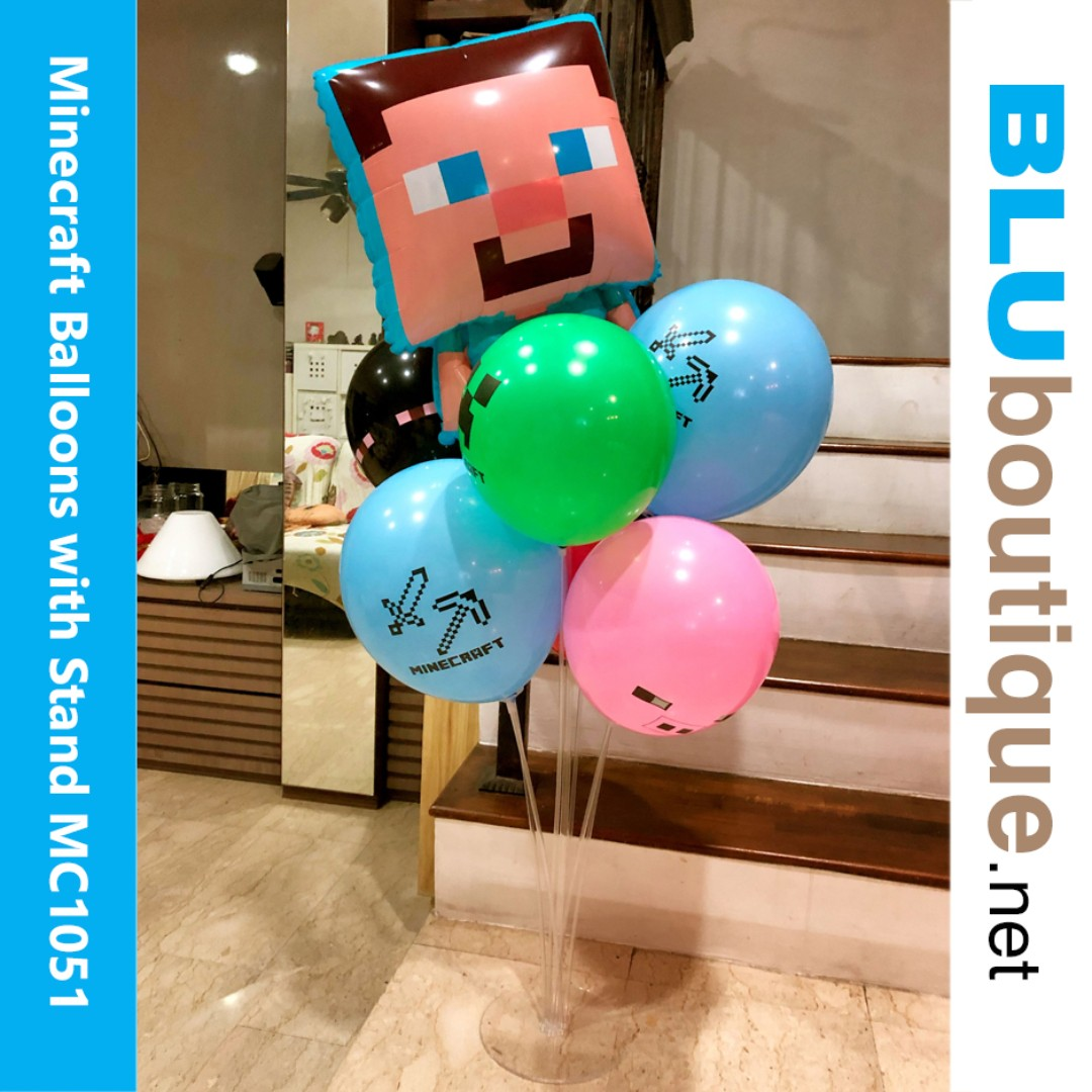 Minecraft Theme Birthday Party Balloons With Stand Babies Kids