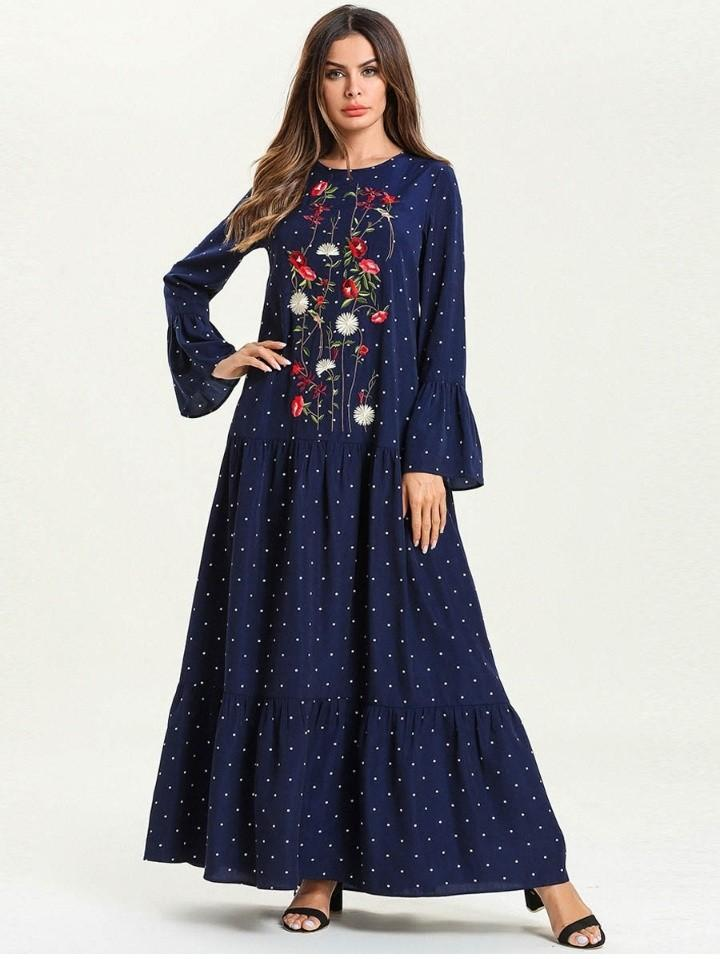 Muslim Turkish Style Embroidery Flare Dress