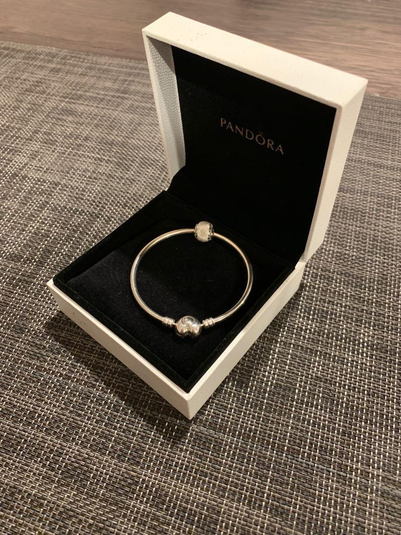 Pandora Sterling Silver Bangle with White/Silver Charm