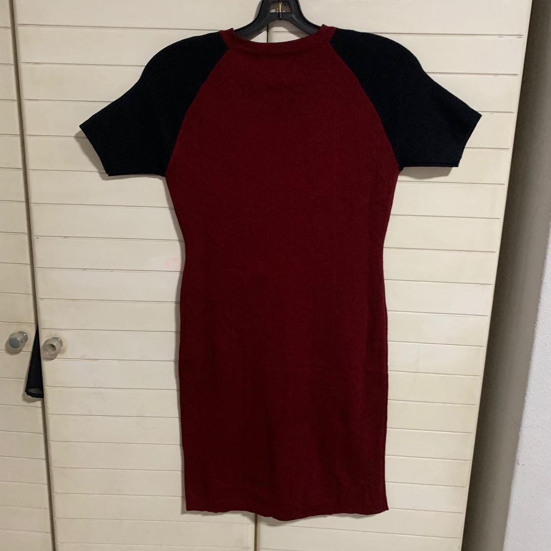 Red / Black Ribbed Bodycon Dress