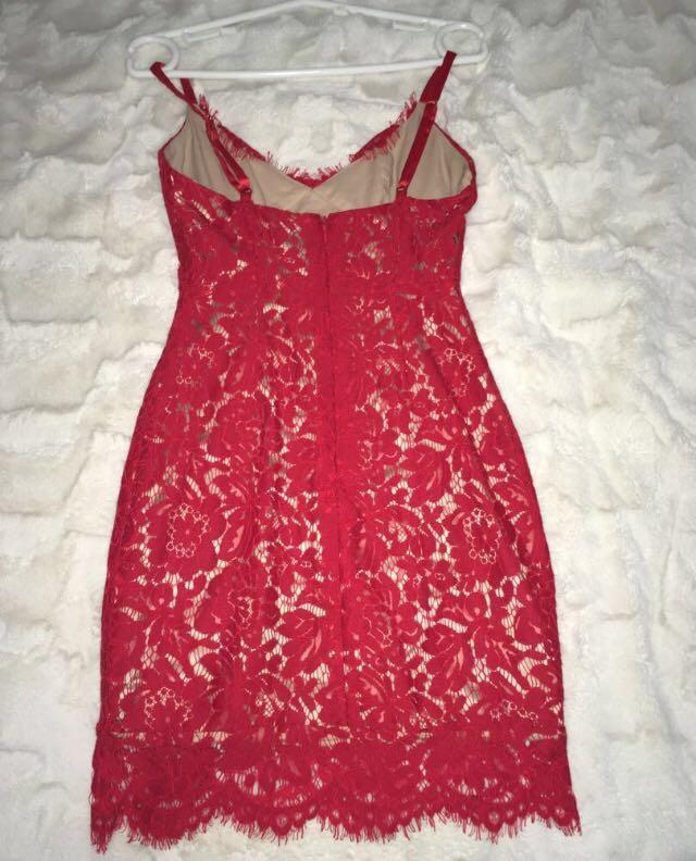 RENT  House of cb red lace dress size xs 6-8