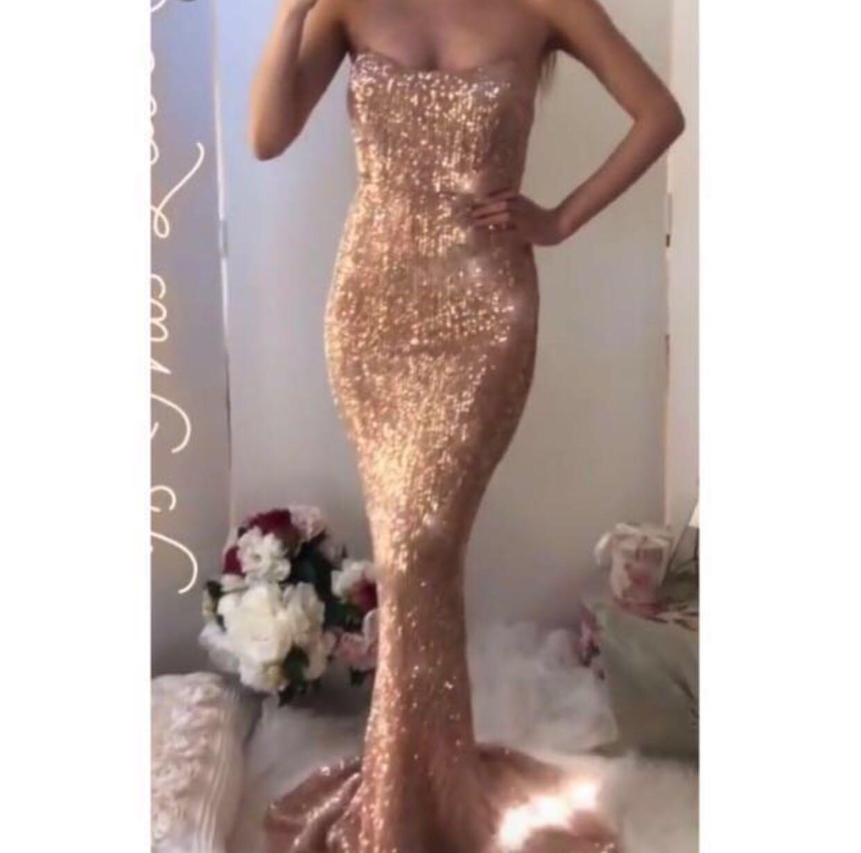 Rose Gold Sequin Formal Evening Dress Size 10
